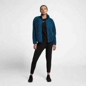 NIKE Women Full-Zip Jacket Blue Sweatshirt sherpa